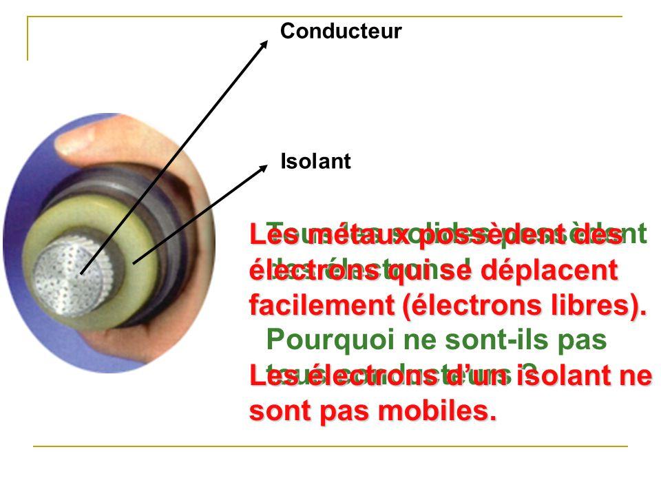 Les électrons d'un isolant ne sont pas mobiles.