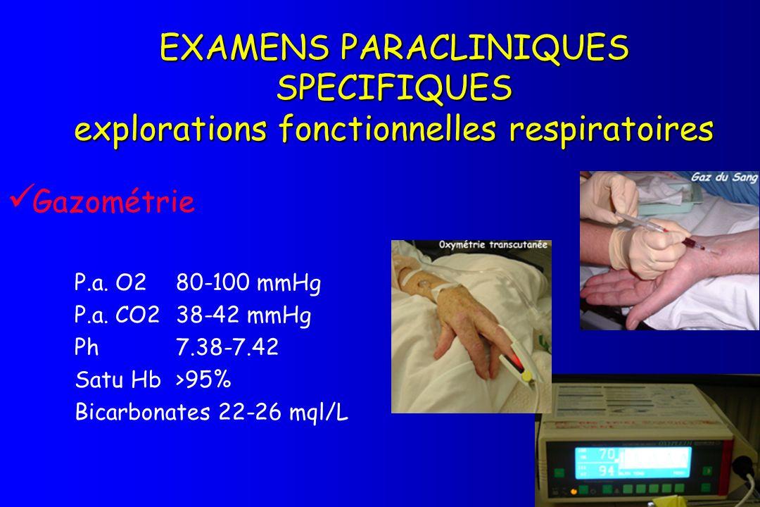 EXAMENS PARACLINIQUES SPECIFIQUES explorations fonctionnelles respiratoires