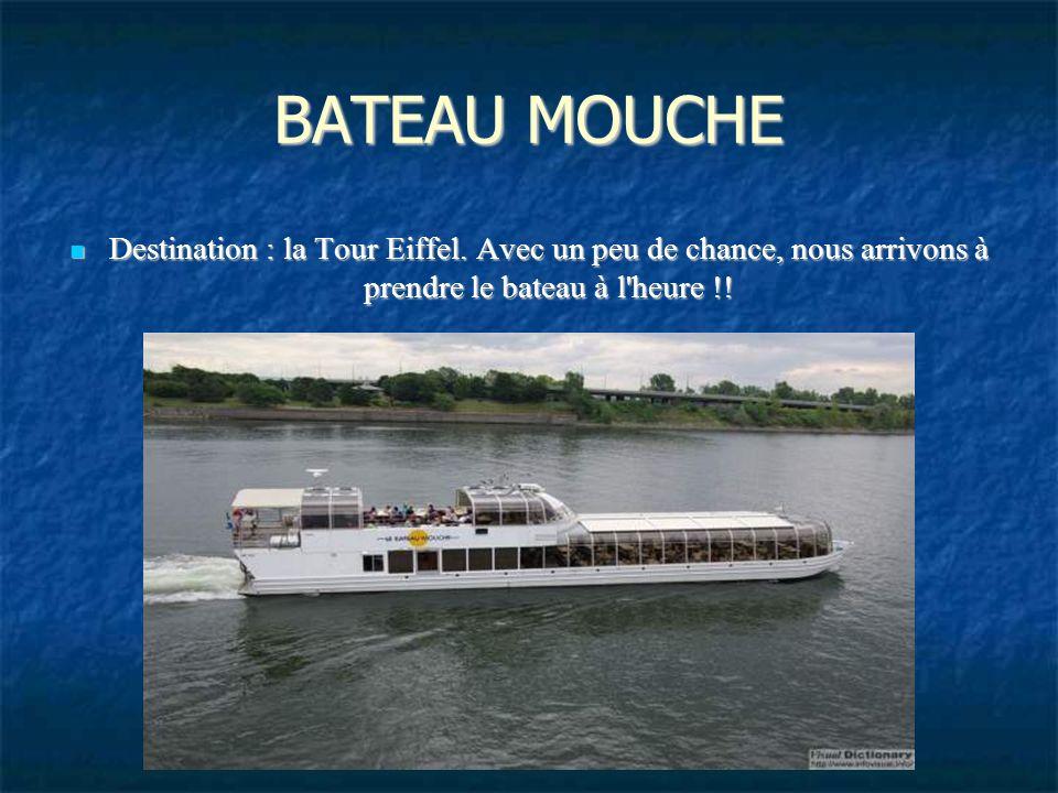 BATEAU MOUCHE Destination : la Tour Eiffel.
