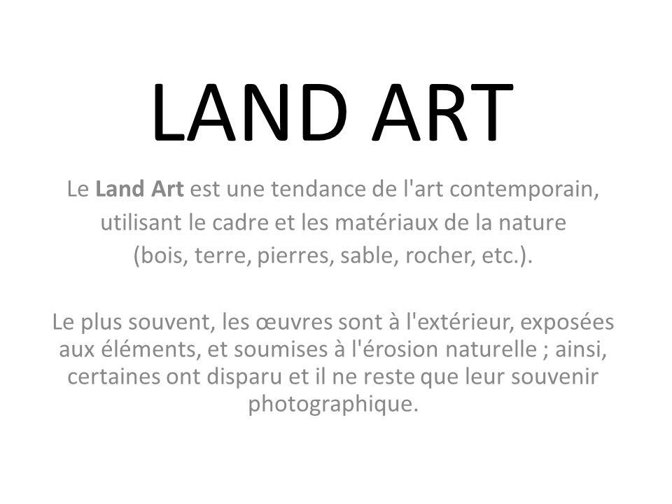 LAND ART Le Land Art est une tendance de l art contemporain,