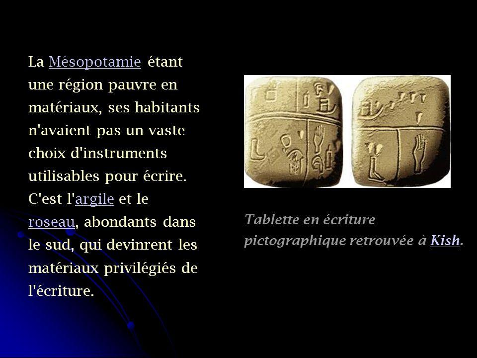 La Mésopotamie étant une région pauvre en matériaux, ses habitants n avaient pas un vaste choix d instruments utilisables pour écrire. C est l argile et le roseau, abondants dans le sud, qui devinrent les matériaux privilégiés de l écriture.