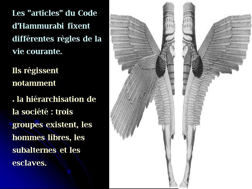 Les articles du Code d Hammurabi fixent différentes règles de la vie courante.