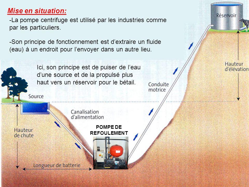 Mise en situation: -La pompe centrifuge est utilisé par les industries comme par les particuliers.