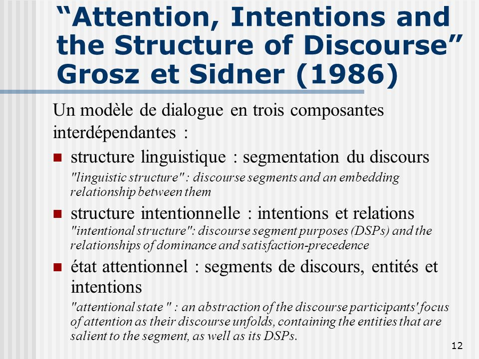 Attention, Intentions and the Structure of Discourse Grosz et Sidner (1986)