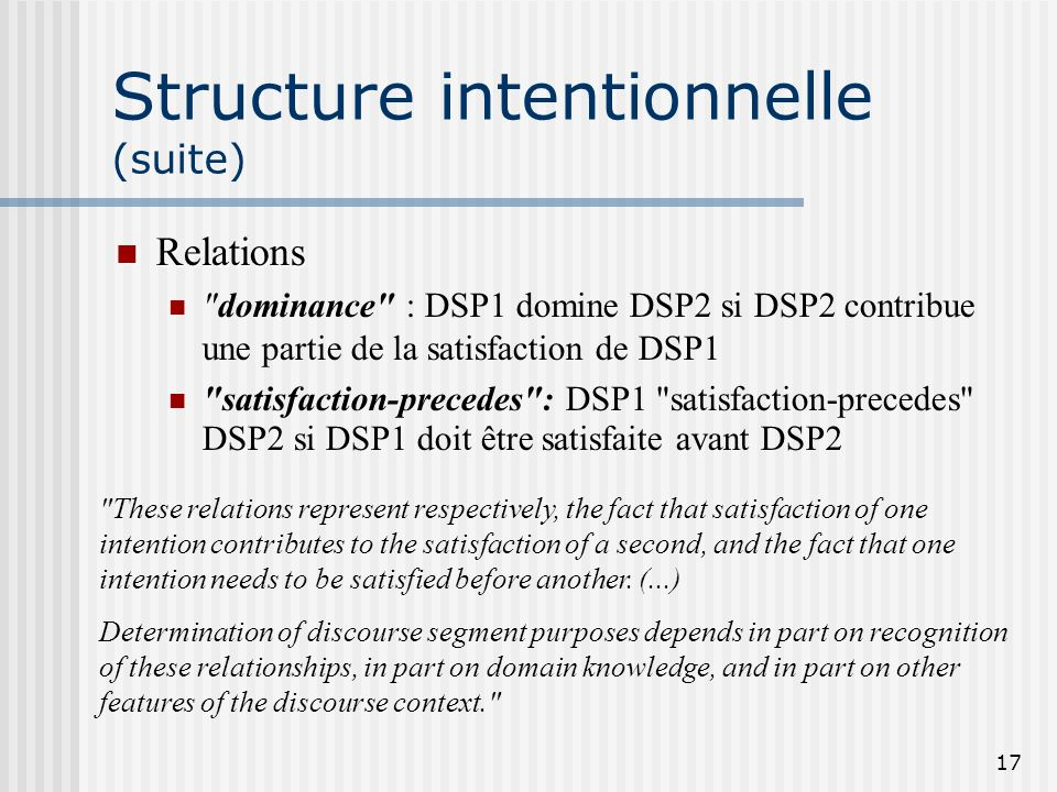 Structure intentionnelle (suite)