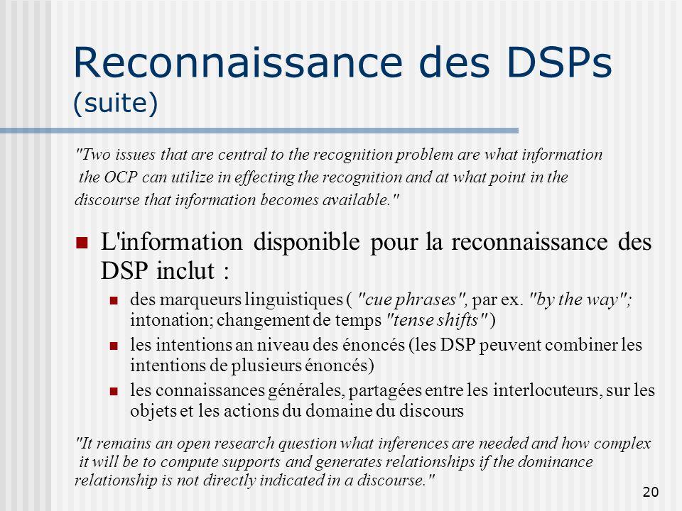 Reconnaissance des DSPs (suite)