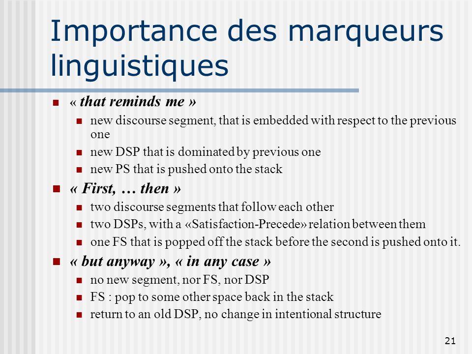 Importance des marqueurs linguistiques