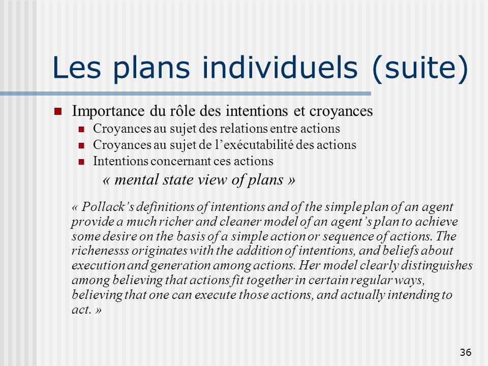 Les plans individuels (suite)