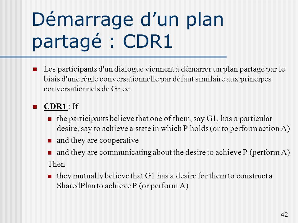 Démarrage d'un plan partagé : CDR1