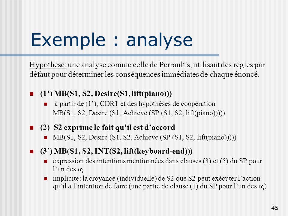 Exemple : analyse Hypothèse: une analyse comme celle de Perrault s, utilisant des règles par.