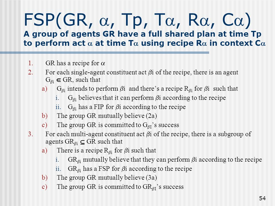 FSP(GR, , Tp, T, R, C) A group of agents GR have a full shared plan at time Tp to perform act  at time T using recipe R in context C
