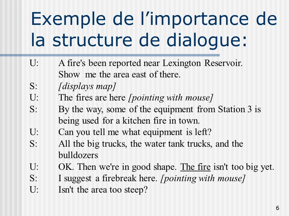 Exemple de l'importance de la structure de dialogue: