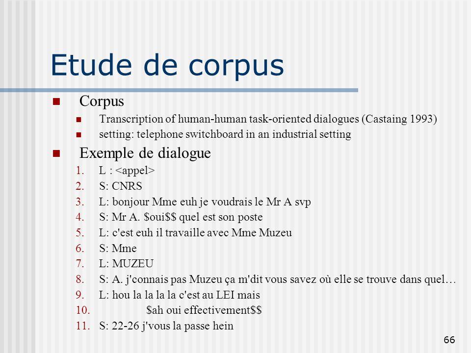 Etude de corpus Corpus Exemple de dialogue