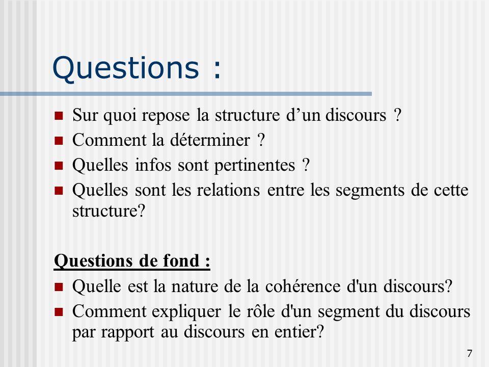 Questions : Sur quoi repose la structure d'un discours