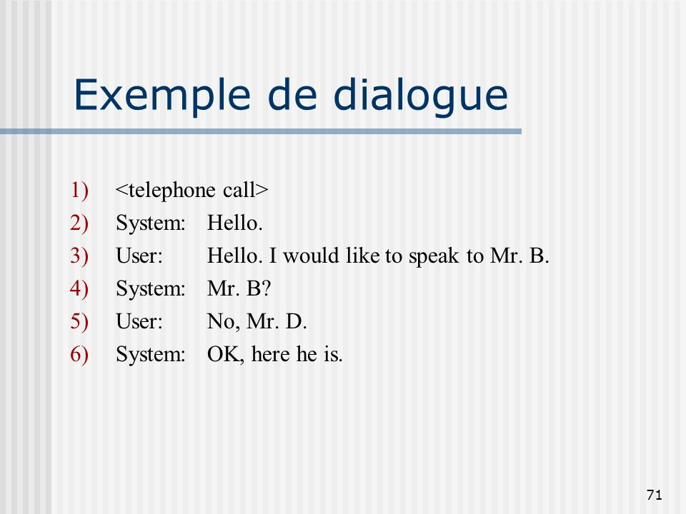 Exemple de dialogue <telephone call> System: Hello.