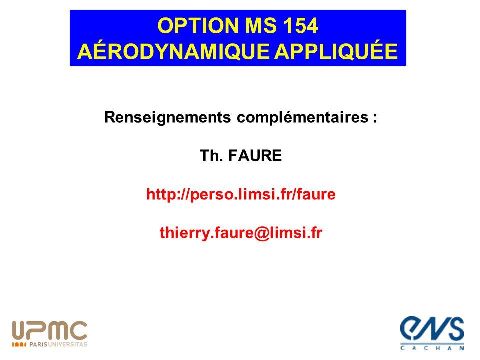 OPTION MS 154 AÉRODYNAMIQUE APPLIQUÉE Renseignements complémentaires :