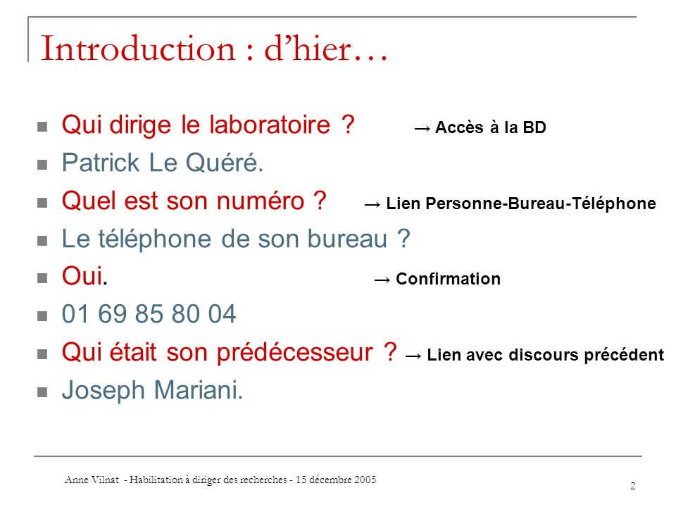 Introduction : d'hier…