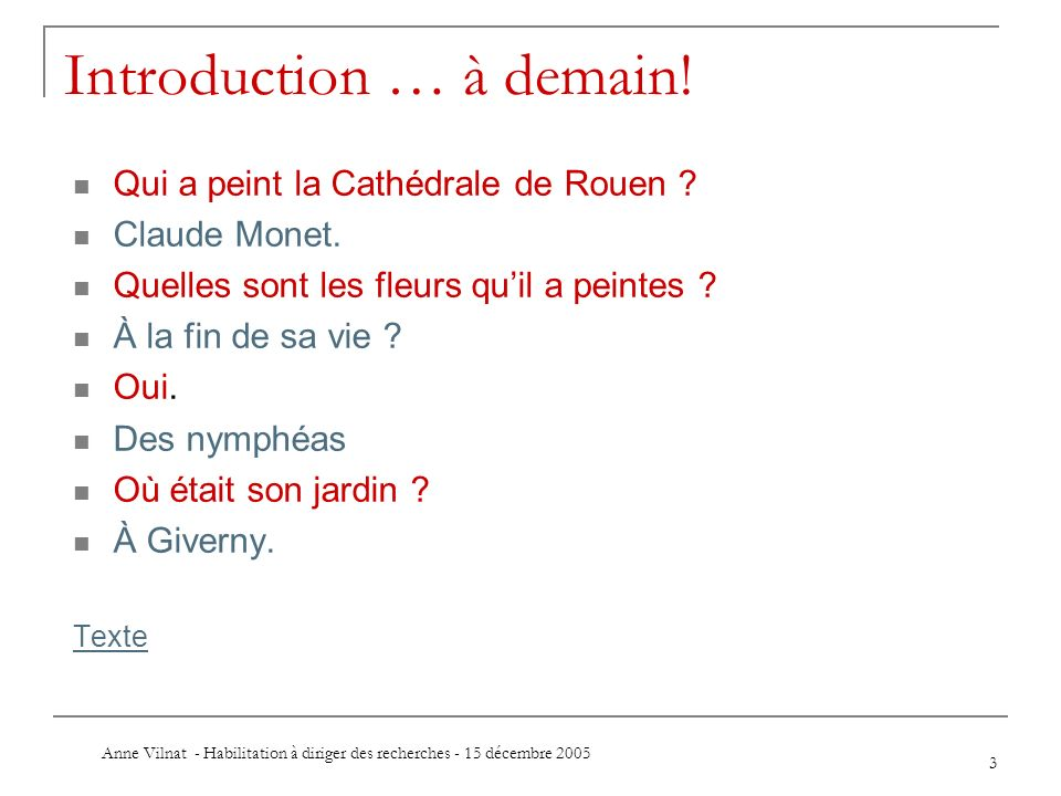 Introduction … à demain!