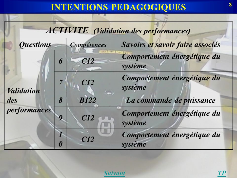 INTENTIONS PEDAGOGIQUES