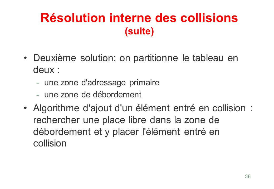 Résolution interne des collisions (suite)