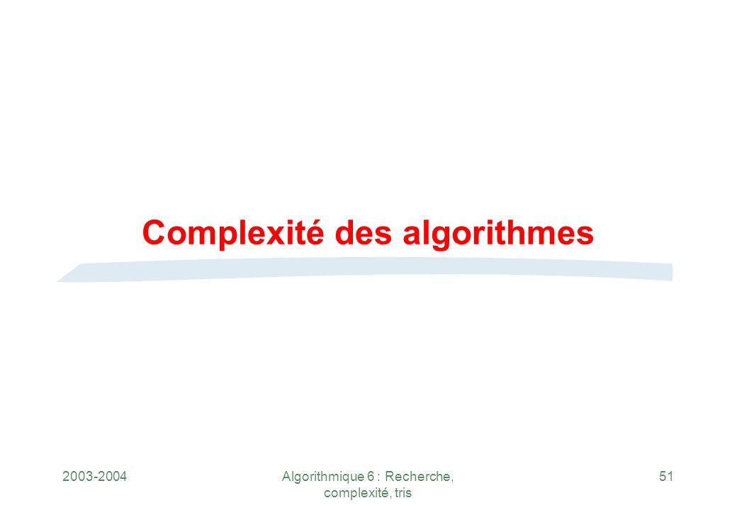 Complexité des algorithmes