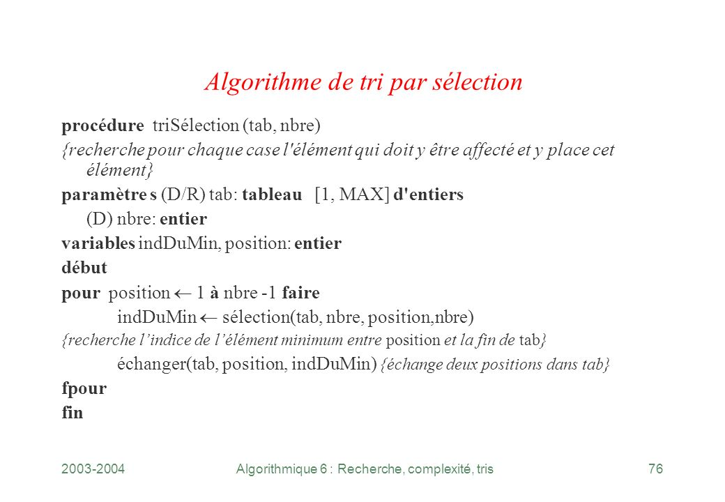Algorithme de tri par sélection