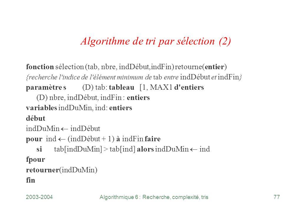 Algorithme de tri par sélection (2)