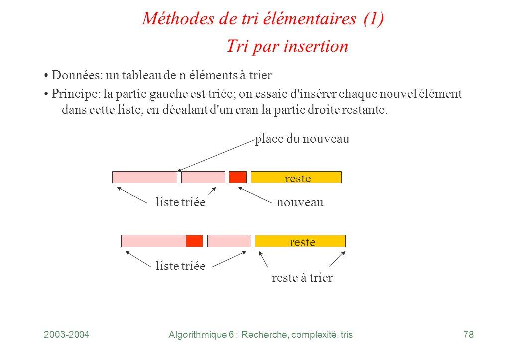 Méthodes de tri élémentaires (1) Tri par insertion