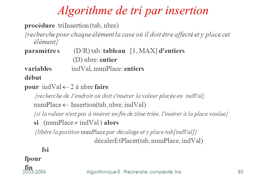 Algorithme de tri par insertion