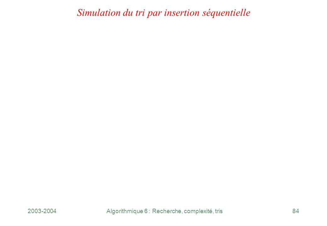 Simulation du tri par insertion séquentielle