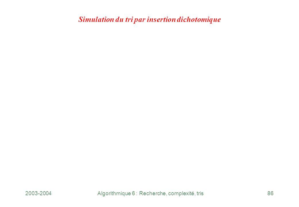 Simulation du tri par insertion dichotomique