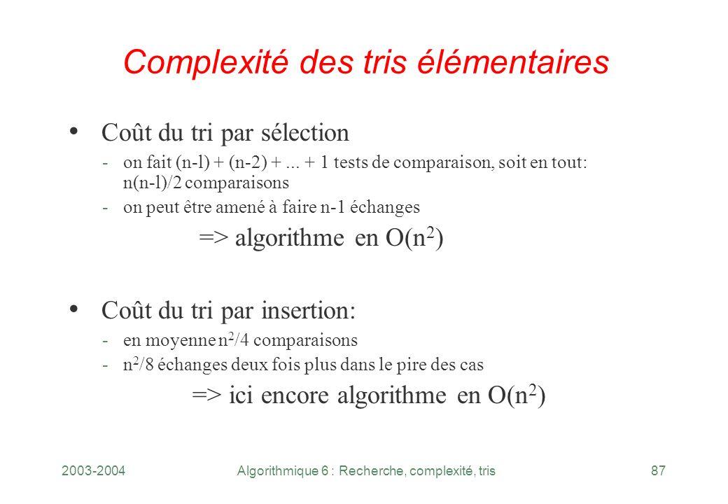 Complexité des tris élémentaires