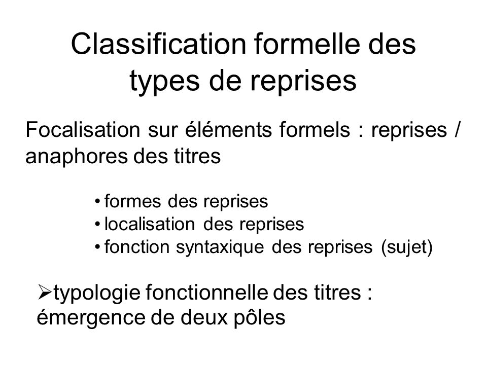 Classification formelle des types de reprises