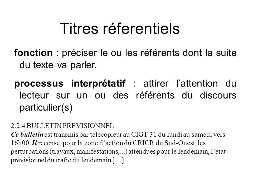 Titres réferentiels fonction : préciser le ou les référents dont la suite du texte va parler.