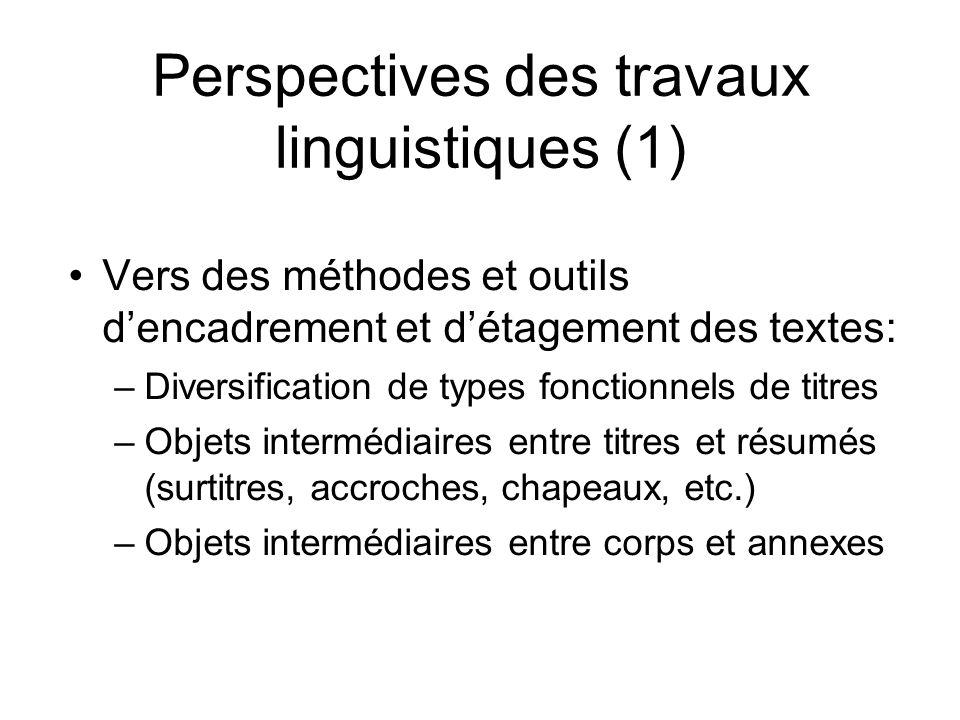 Perspectives des travaux linguistiques (1)
