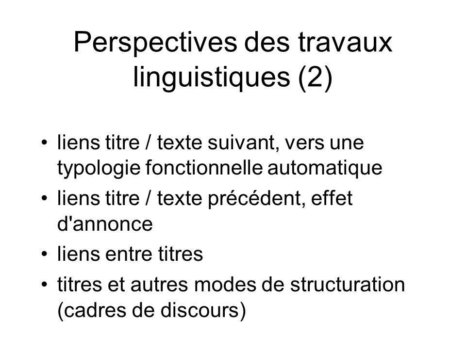 Perspectives des travaux linguistiques (2)