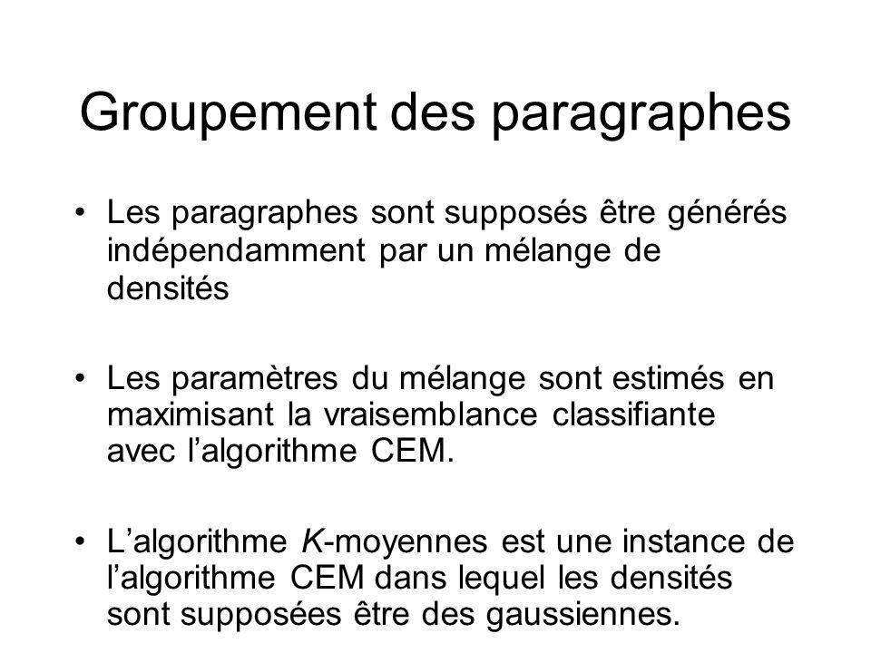 Groupement des paragraphes