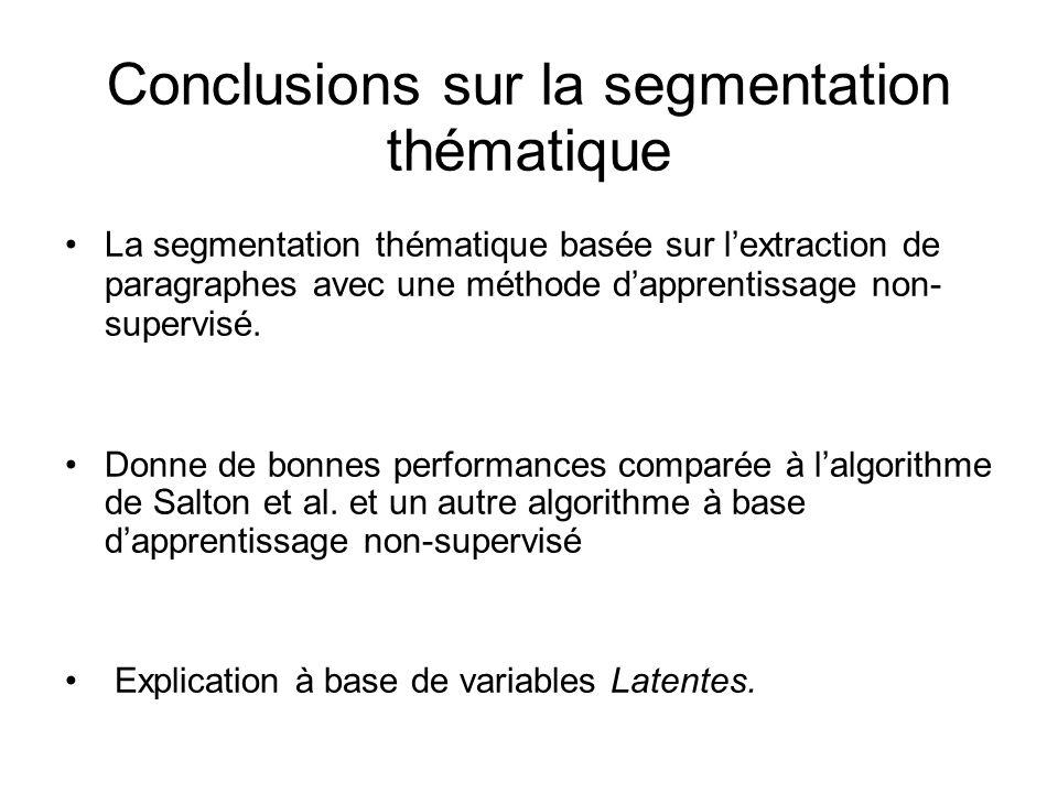 Conclusions sur la segmentation thématique