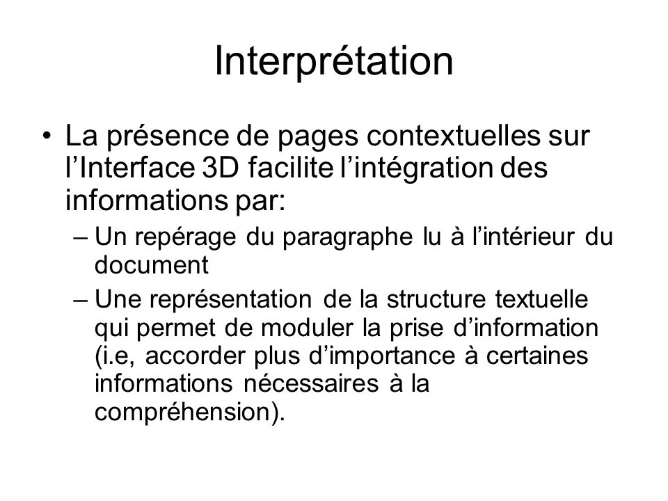 InterprétationLa présence de pages contextuelles sur l'Interface 3D facilite l'intégration des informations par: