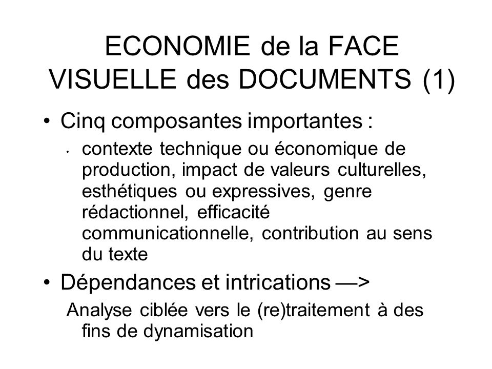 ECONOMIE de la FACE VISUELLE des DOCUMENTS (1)