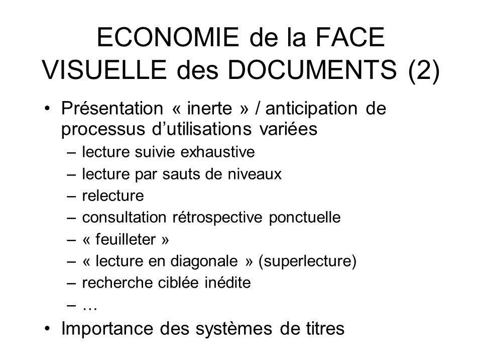 ECONOMIE de la FACE VISUELLE des DOCUMENTS (2)