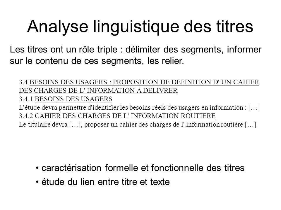 Analyse linguistique des titres