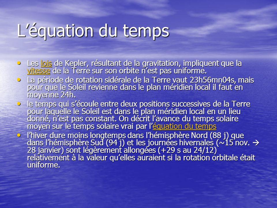 L'équation du temps Les lois de Kepler, résultant de la gravitation, impliquent que la vitesse de la Terre sur son orbite n'est pas uniforme.