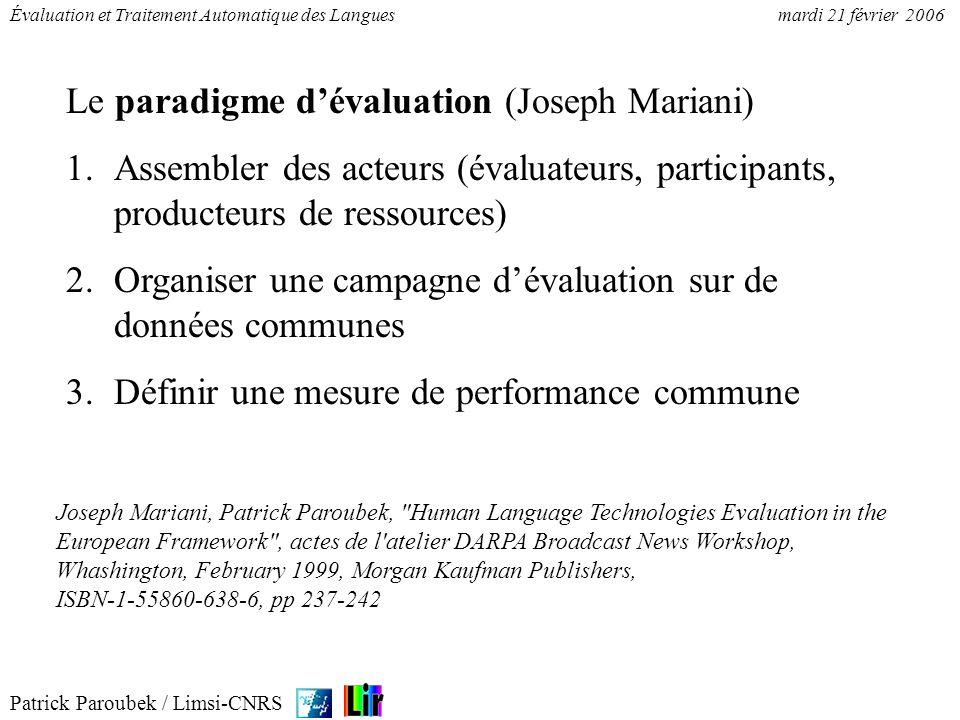 Le paradigme d'évaluation (Joseph Mariani)