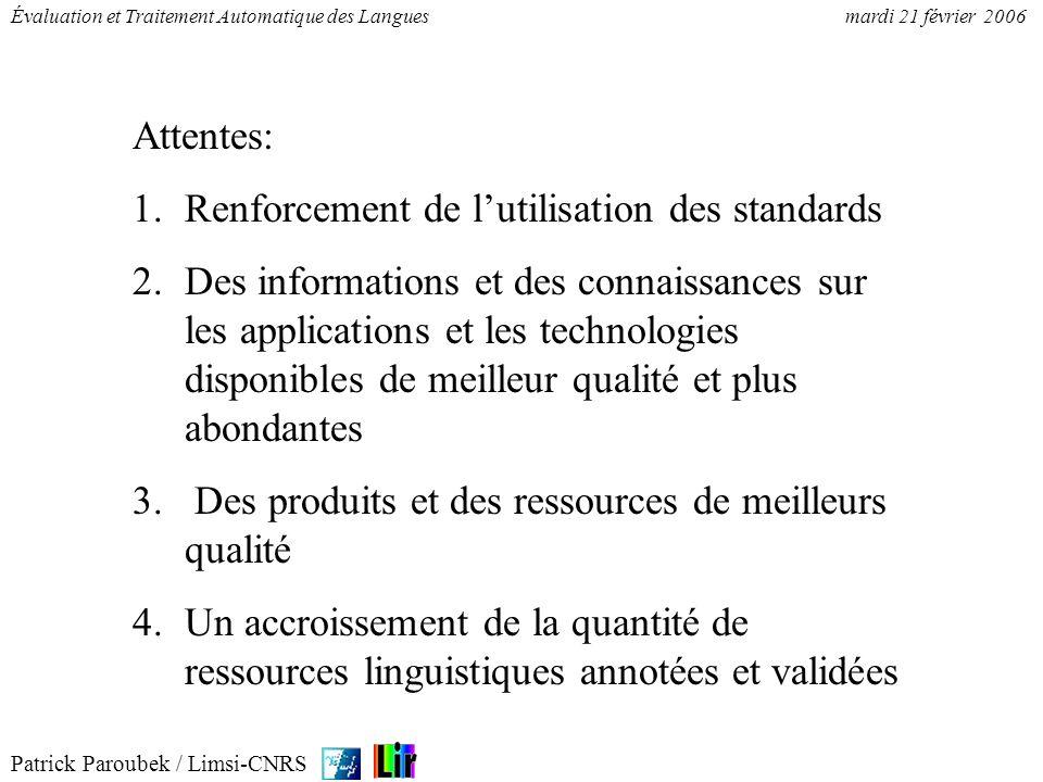 Attentes: Renforcement de l'utilisation des standards.