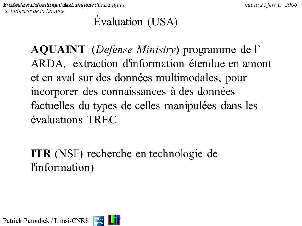 ITR (NSF) recherche en technologie de l information)