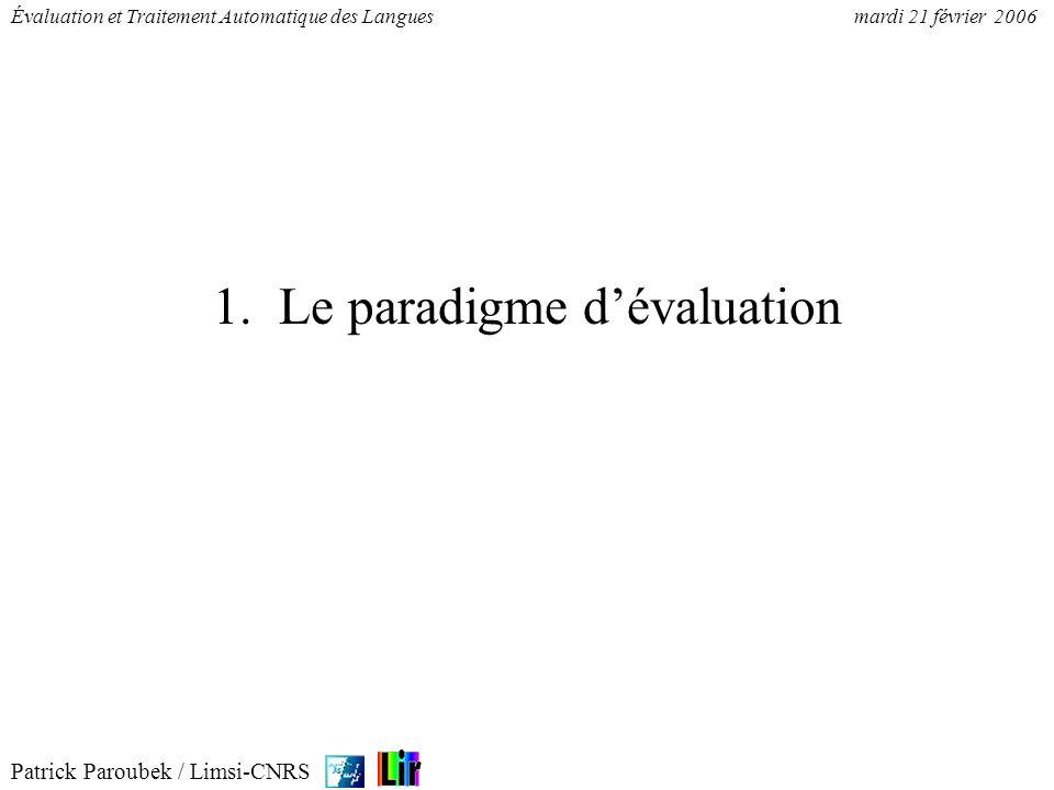 1. Le paradigme d'évaluation