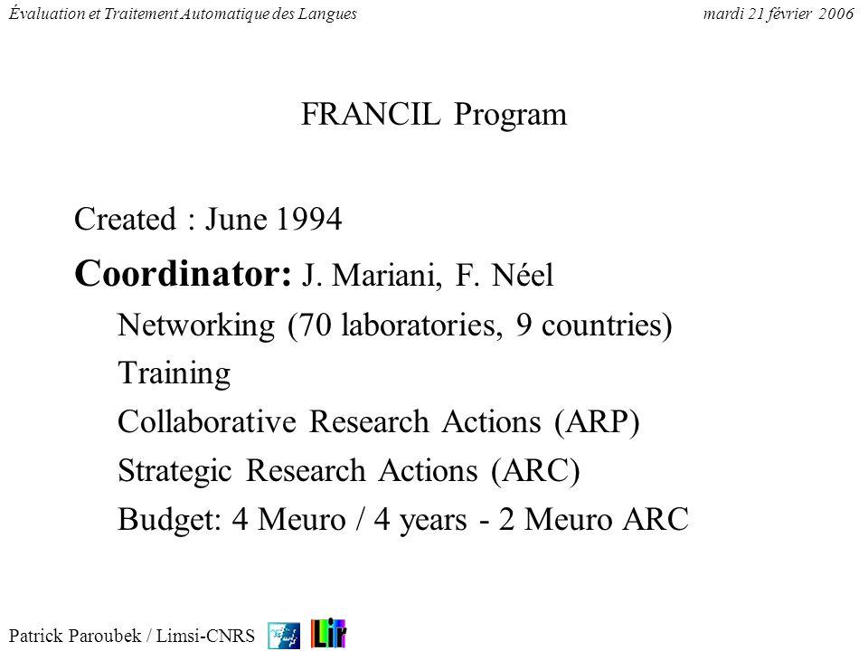 Coordinator: J. Mariani, F. Néel