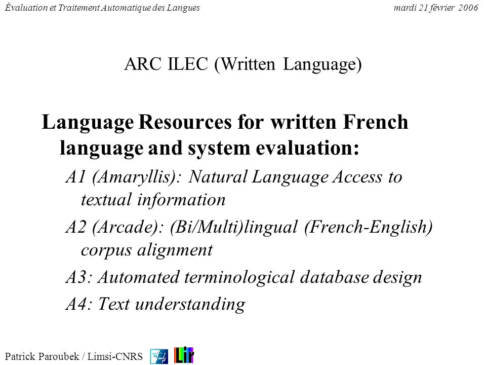 ARC ILEC (Written Language)