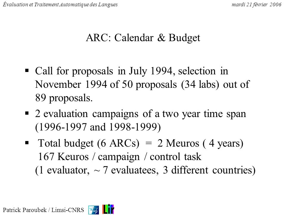 ARC: Calendar & Budget Call for proposals in July 1994, selection in November 1994 of 50 proposals (34 labs) out of 89 proposals.